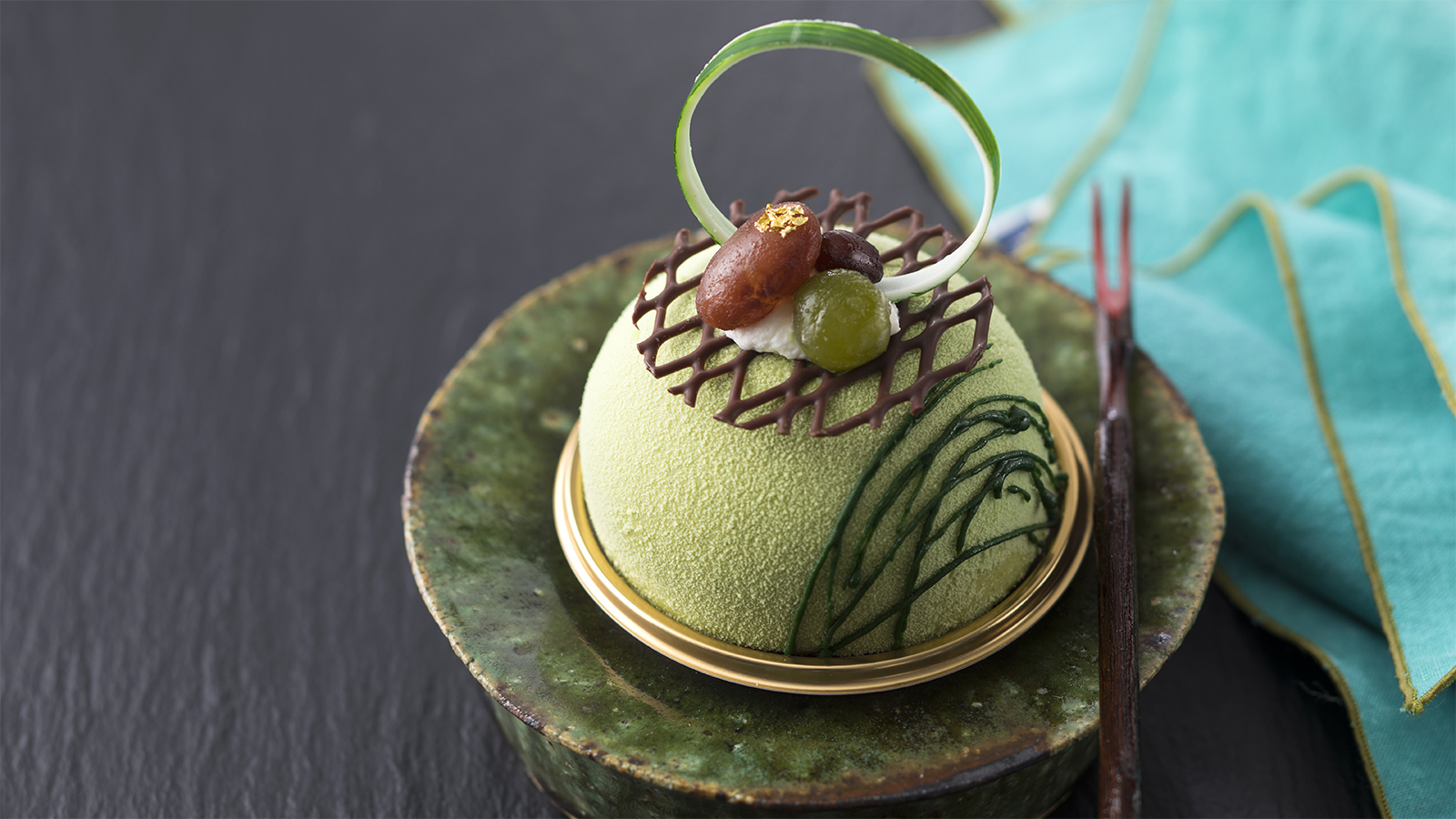 Matcha and Red Bean Condensed Milk Mousse